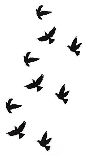 Tattoo Vogel Vögel Freiheit für Frauen mit Motiv Entfernbare Klebe Henna Tattoos Festival Abzieh-Tattoo Folie Künstlich Schwarze Körperkunst Aufkleber Arm Sleeve Temporary (Fake-tatoo)