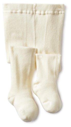 Jefferies Socks Baby Girls' Seamless Organic Cotton Tights, Ivory, 6 18 Months