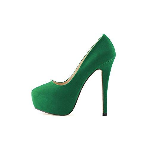 OCHENTA Femme Escarpins En Velvet Talon Haut Aiguille Plateforme Epais Marcher Confortable Chaussure Soiree Mariage Vert