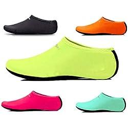 Agua Calcetines Calzado Cuero Zapatos Surf Playa Inicio De Buceo Zapatillas Piscina Natación Yoga calcetines para hombre Mujer - Verde, 35-36 UK2-3