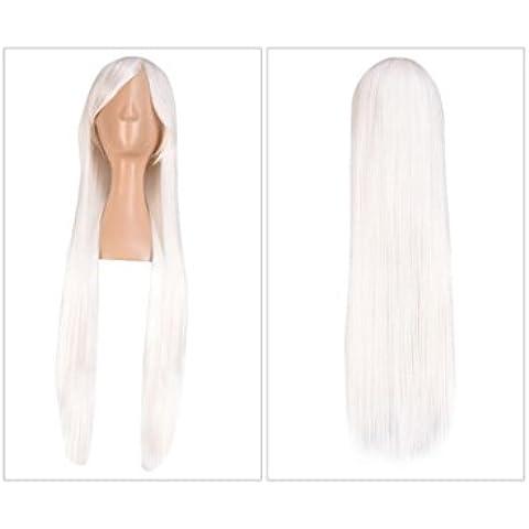 XQXHair 80cm lunghi Staight Cosplay termoresistente sintetica dei capelli del Anime del partito parrucche molti colori disponibili Ajustable Cap , pure white