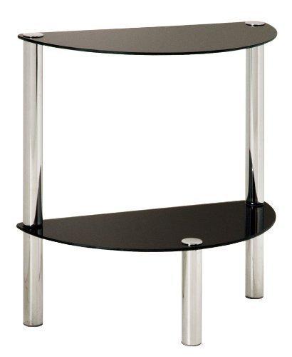 Haku Möbel 90541 Table Basse d'Appoint Tube d'Acier/Verre Trempé Chromé/Noir 45 x 22 x 47 cm