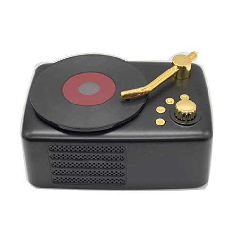Mini Geschenk Mini Lautsprecher, drahtloser Telefon Bluetooth Lautsprecher Kreativer Retro Phonograph Lautsprecher (Color : Black) - Surround-system-basis