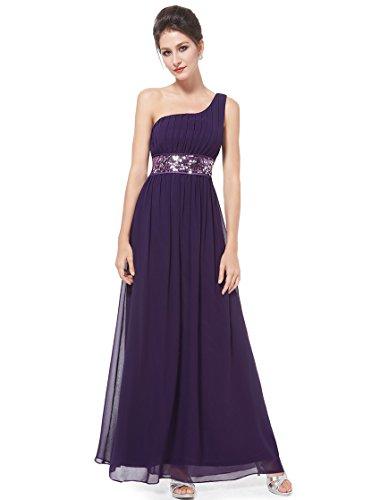 Ever Pretty Robe de soirée avec une épaule de style Empire et la ceinture en paillettes 09770 Violet