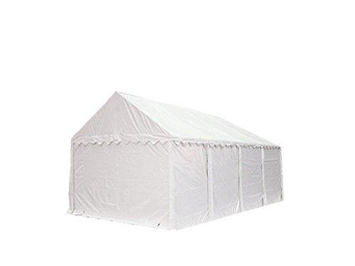 Feuersicheres Lagerzelt mit Bodenrahmen und Dachverstärkung 3x8 m, hochwertige 500g/m² PVC Plane feuersicher nach DIN in weiß, 100% wasserdicht, vollverzinkte Stahlkonstruktion