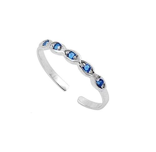 RS Jewels platiniert 925Sterling Silber Zinken-Set rund blau Saphir verstellbar Infinity Zehenring (Platin-blau Saphir-ring)