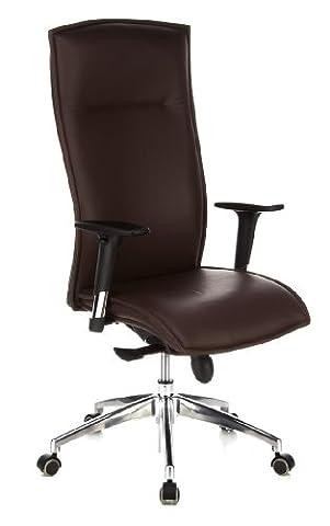 hjh OFFICE 600040 chaise de bureau, fauteuil de direction de luxe MURANO 20 marron en cuir véritable, arrière et côtés en simili cuir, avec accoudoirs, dossier ergonomique, piètement stable, adapté pour un usage instensif