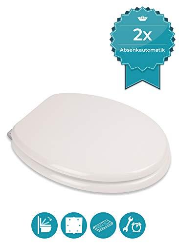 Calmwaters® WC Sitz Weiß mit Absenkautomatik Antimilos, Fast-Fix-Befestigung aus Metall, universale O-Form, stabiler Holzkern Toilettendeckel, Komfort Klodeckel, Weiß - 26LP2889