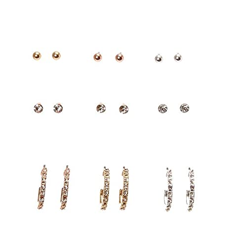 Claire's Girl's Mixed Metal Stud and Half Hoop Earrings in Silver