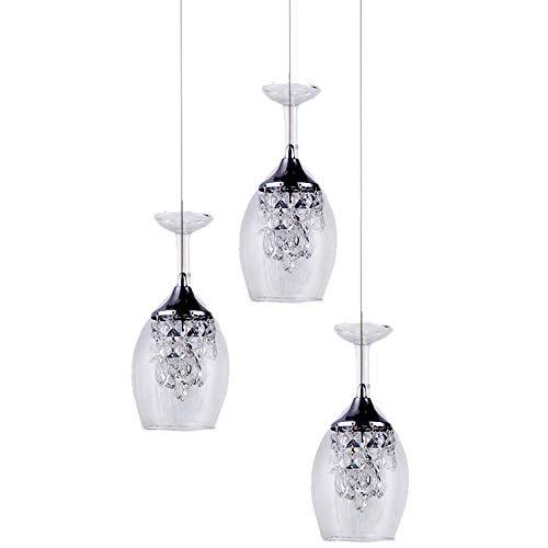YWMSJD LED Decke Kronleuchter Weingläser Design Restaurant mit Glasschirm Kristall Pendelleuchte...