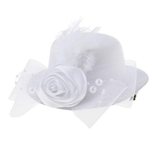 (Fenteer Mädchen Fascinator Mini Hut Fotoshooting Hut Mütze - Stil 1-Weiß)