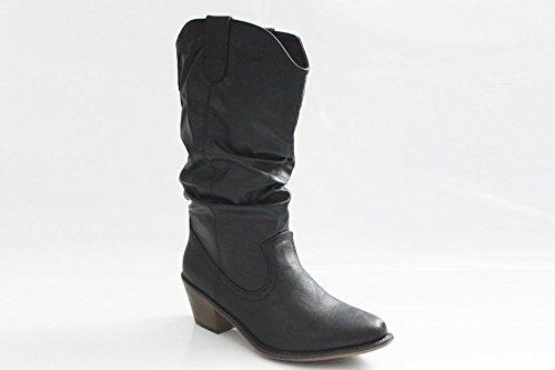 Damen Mädchen Schwarz Hoch Cowboy Western Boots Winter Stiefel Größe UK 3–8 Schwarz