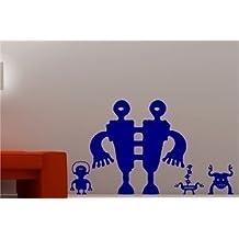 Online Design BIG Robots & Alienígenas Adhesivo Pared Vinilo Infantil dormitorio infantil Salón - Azul