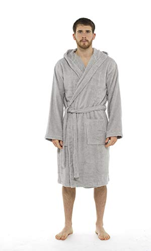 CityComfort Hombres Toalla de baño 100% Algodón Terry Toalla Cuello Chal Albornoz Bata de baño Albornoz Gimnasio Ducha SPA Hotel Vacaciones (2XL, Gris Claro)