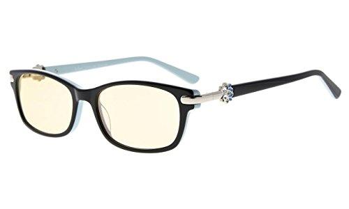 Eyekepper Damen Computer Brille Anti Blaues Licht Lesebrille Acetat-Rahmen für kleines Gesicht,Bernstein getönten Gläsern (Schwarz Blau,+1.75)