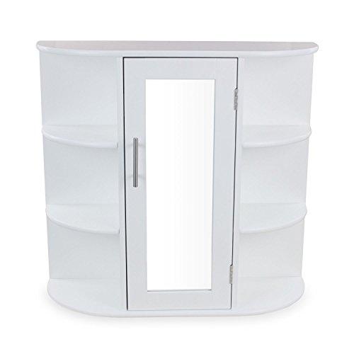 1PLUS Landhaus Badezimmerschrank Spiegelschrank Hängeschrank aus Holz, Weiß, (B x T x H) 60 x 17 x 58 cm