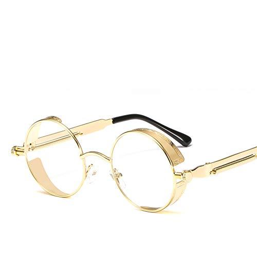 WZYMNTYJ Sonnenbrille Steampunk Männer Frauen Mode Runde Retro Metall Flip Sonnenbrille Brillen Eyewear HD Lens Feminino