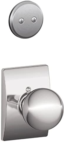 Schlage Lock Company F94ORB626CEN Orbit Knob Dummy Interior Pack with Deadbolt Cover Plate and, Satin Chrome