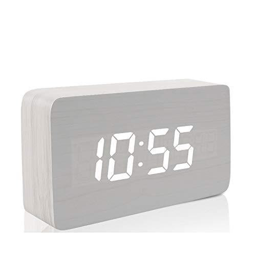 Lybclock orologio da comodino elettronico luminoso muto sveglia in legno per bambini studenti, 3