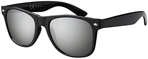 Sonnenbrille La Optica UV 400 CAT 3 Damen Herren Nerd - Einzelpack Glänzend Schwarz (Gläser: Silber Verspiegelt)