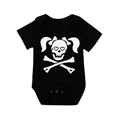 Lazzboy Halloween Neugeborenes Baby Mädchen Jungen Kostüm Schädel Print Shirt Tops Body Strampler Outfits Set (Kind Schädel Herr Kostüme)