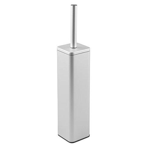 mDesign brosse pour WC avec support – balayette de toilettes argenté haut de gamme – brosse de toilette et support à brosse – en aluminium