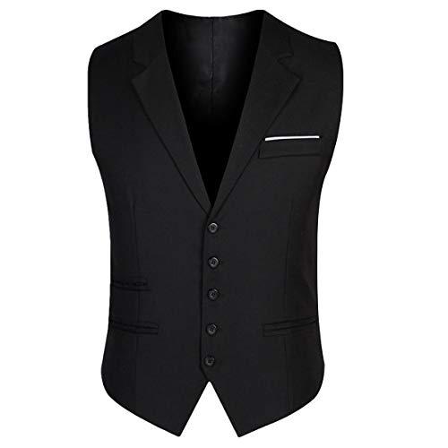YOUTHUP Herren Anzugweste Einreiher Grau Anthrazit Westen Business V-Ausschnit Slim fit Anzug Schwarz Weste