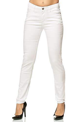 Elara Damen Stretch Hose Skinny Röhrenjeans mit elastischem Bund Chunkyrayan G09-1 White 44