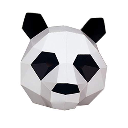 Kostüm Affe Kreative - Sannysis Halloween Kostüm Tier Maske Handgemachte DIY 3D Party Tierkopf Masken Papier Katze Panda AFFE Labrador Maskerade Mascara Cosplay Karneval Dekoration Kreative Prop (20x30x5cm, D Panda)