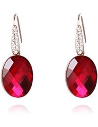 Fashion Plaza oval Form rosa rot Kristall Anhaenger Damen Ohrring Palast Stil E400