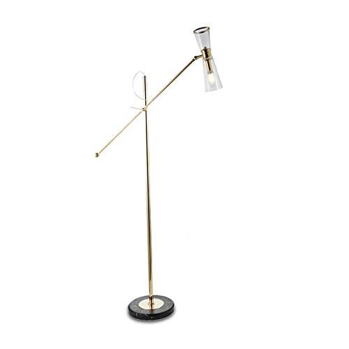 WLG Home, Neuheit Stehleuchte- Stehleuchte Nordic Modern Glass Shade Slip Marmorsockel E14 Eisen -