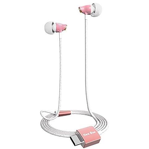 Yapeach Type-C Écouteurs Hi-Fi, Newbee USB-C filaire écouteurs intra-auriculaires Réduction du bruit en céramique casque stéréo avec caches et sac de Package pour les appareils Usb-3.1Huawei P9/LG G5/Microsoft Lumia 950/HTC 10