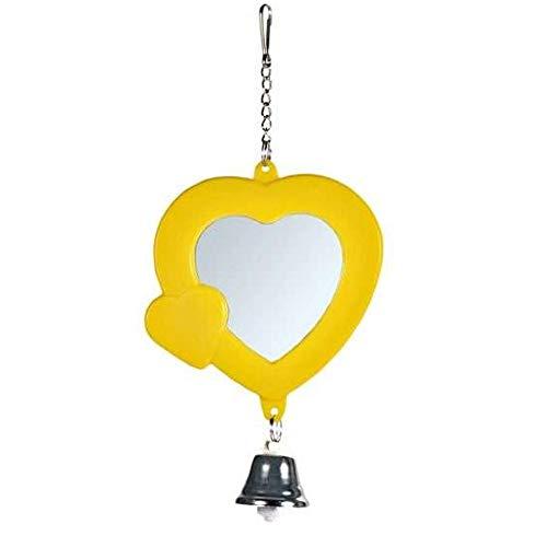EQT-TEC Vogel Spielzeug Spiegel mit Rahmen und Glocke - 7,5 cm Vogelspielzeug für zb Vogelkäfig