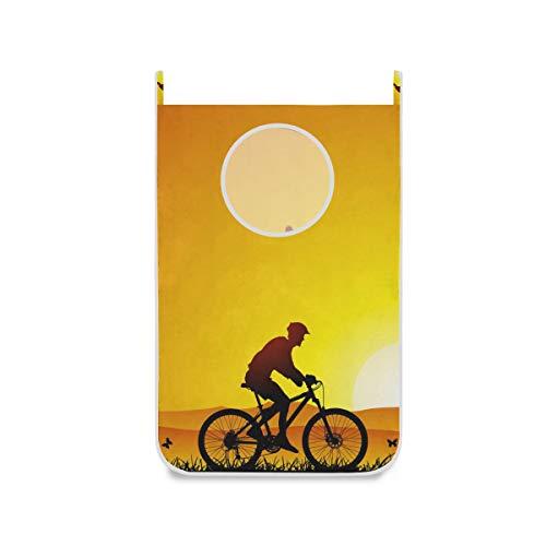 XiangHeFu Bolsa de Tela Canasta Plegable Cesta para Colgar Cesto de la Ropa Dormitorio Grande Paseo Nocturno Bicicleta Puesta de Sol