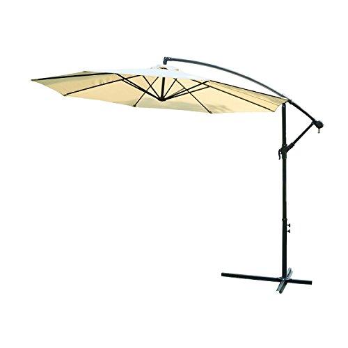 Outsunny ombrellone decentrato giardino parasole alluminio 3m con protezione uv beige