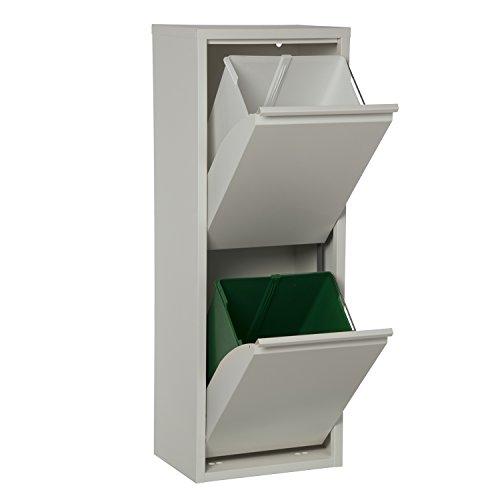 DonRegaloWeb - Papelera vertical de reciclaje de metal con 2 cubos de plástico en color blanco mate