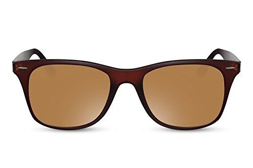 Cheapass Sonnenbrille Wayfarer Braun Verspiegelt UV-400 Nerd-Brille Festival-Zubehör Damen Frauen