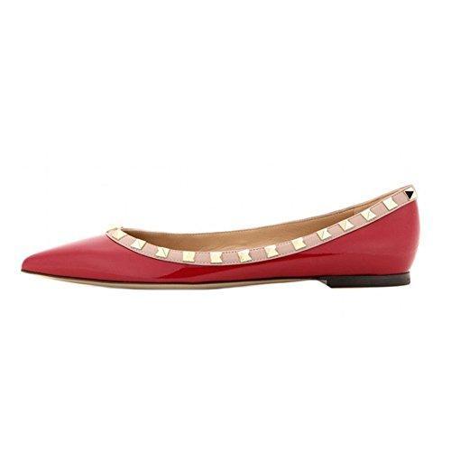 Heels Spikes Ballerinas Schuhe Wohnungen Rot 46 EU (Rot Spike Heel Schuhe)
