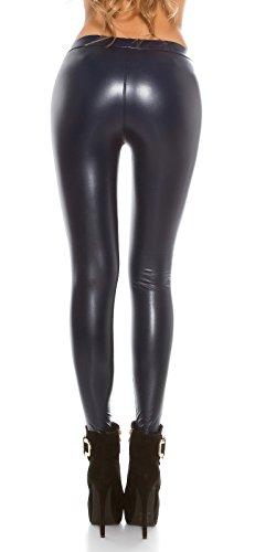 Koucla Femmes Legging Thermique Tregging en souple Optique Cuir avec élastique pres look mouillé Pantalon à doublure chaude plusieurs couleurs Bleu