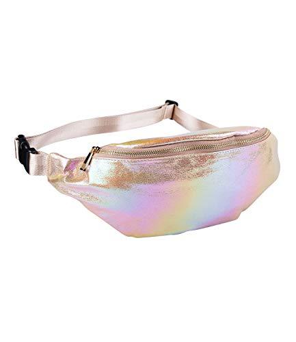 SIX Damen Bauchtasche, Mini Bag in metallic