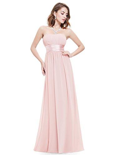 Ever-Pretty Robe de Soirée Robe de demoiselle d'honneur Longue Femme sans Manche Bustier 40 Ros