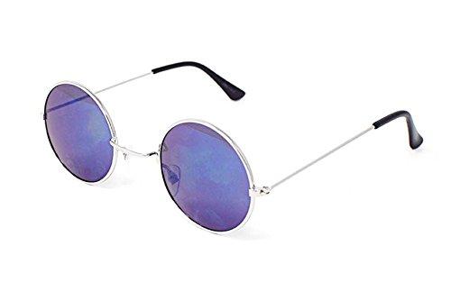 Marco Plateado con Lentes Azules Adultos Retro Gafas de Sol Redondo Estilo Pequeño John Lennon Vintage Calidad UV400 Elton Hombres Mujeres Unisex Classic Eyewear