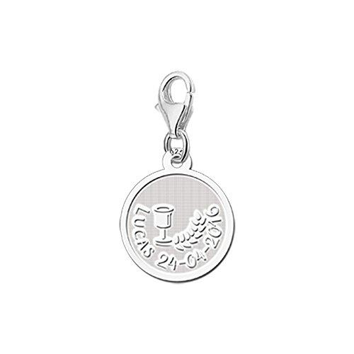 r Silberner Charm zur Kommunion aus 925er Sterling Silber mit Motiv Wein und Getreide und kostenloser Gravur mit bis zu 22 Zeichen ()