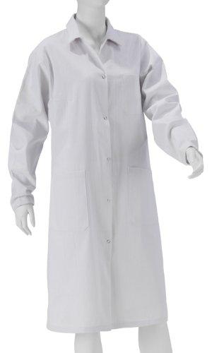 Damen Laborkittel 2te Wahl aus 100% Baumwolle, weiß Labor Kittel Mantel, für Studium/Arbeit/Schule im Labor geeignet, mit Druckknöpfen -