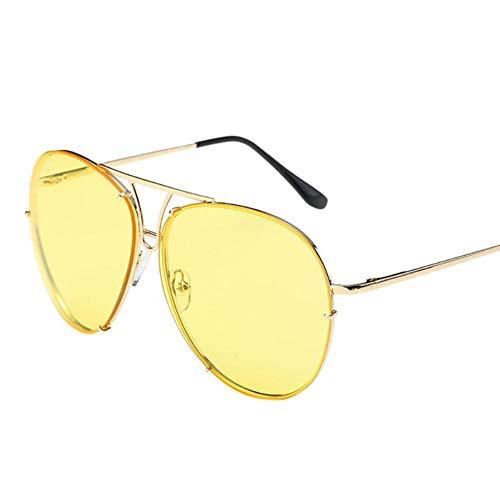CCGSDJ Retro Frauen Mann Sonnenbrille Übergroße Aviator Sonnenbrille Flache Oberseite Große Große Luxus Verspiegelten Rahmen Oculos