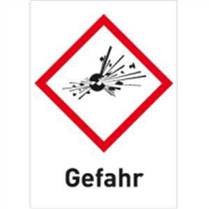 Gefahrstoffetiketten Explodierende Bombe (GHS 01) mit Zusatztext darunter: Gefahr 10,5 x 7,4cm Folie Für explosive Stoffe/Gemische und Erzeugnisse mit Explosivstoff.