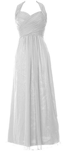 MACloth Women Halter Pleated Chiffon Long Prom Dress Wedding Party Formal Gown Weiß
