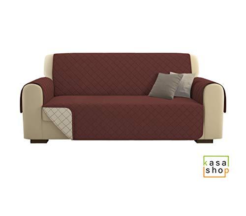 Kasashop copridivano/salvadivano deluxe imbottito, reversibile doubleface copertura divano (marrone, divano 3 posti)