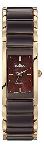 Dugena Damen Quarz-Armbanduhr, Keramik, Gehärtetes Mineralglas, Quadra Ceramica, Braun/Gold, 4460769