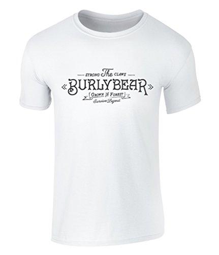 CALIFORNIA BLACK PLATE - Vintage Style Burly Bear, Bär, Bären Badge Icon Grafik T-Shirt, Herren, S - XXL White